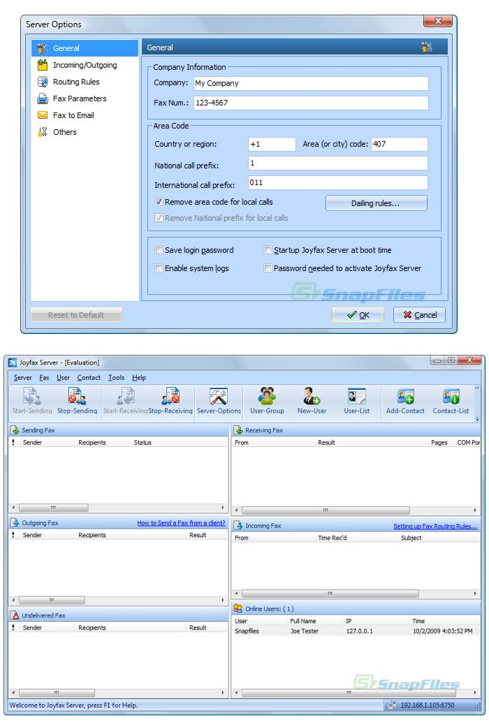 screenshot of Joyfax Server