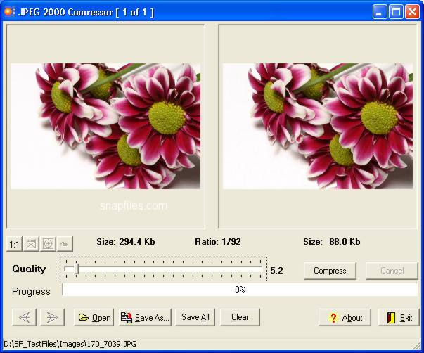 screen capture of JPEG 2000 Compressor