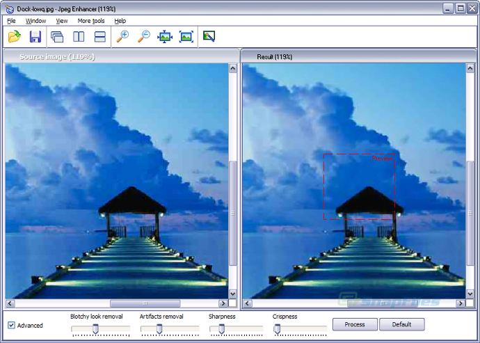 screen capture of JPEG Enhancer