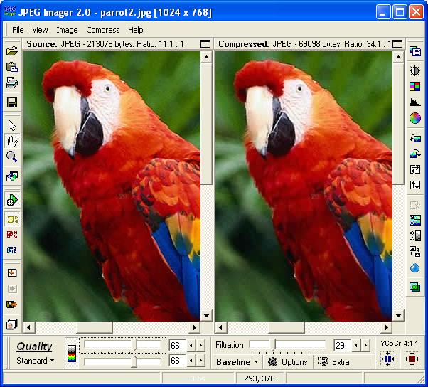 screen capture of JPEG Imager