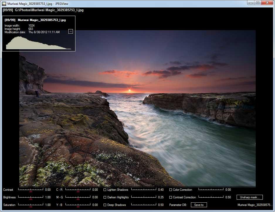 screen capture of JPEGview