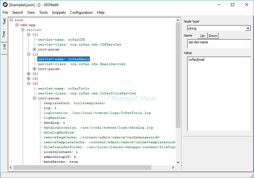 screen capture of JSONedit