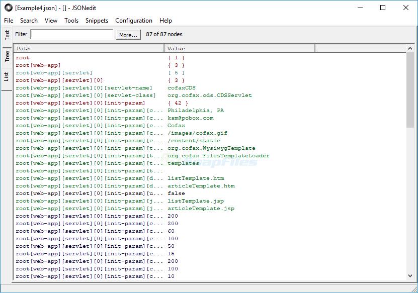 screenshot of JSONedit
