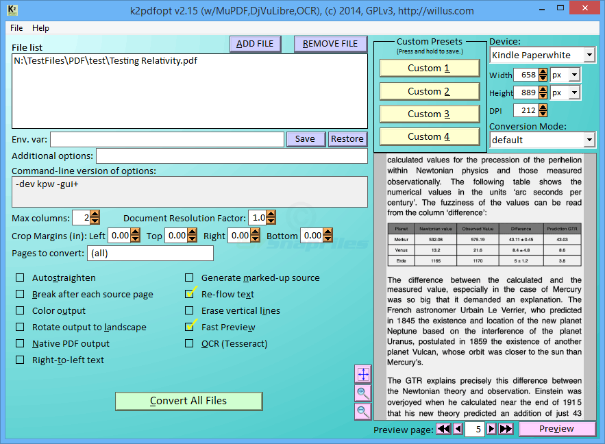 screen capture of K2pdfopt
