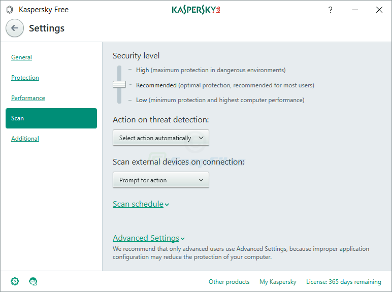 screenshot of Kaspersky Free