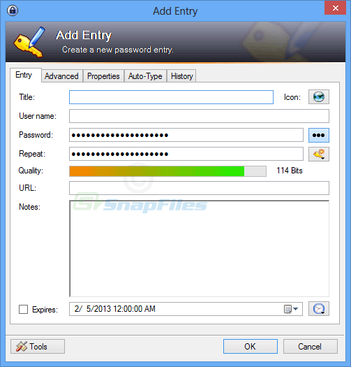 screenshot of KeePass Password Safe