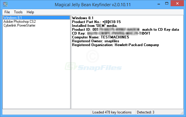 Magical Jelly Bean Keyfinder - recover Windows installation code