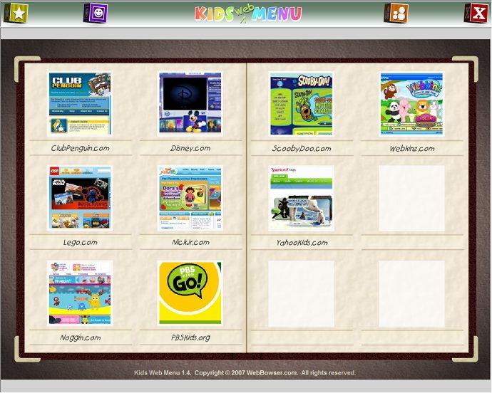 screen capture of Kids Web Menu
