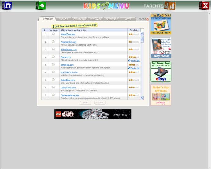 screenshot of Kids Web Menu