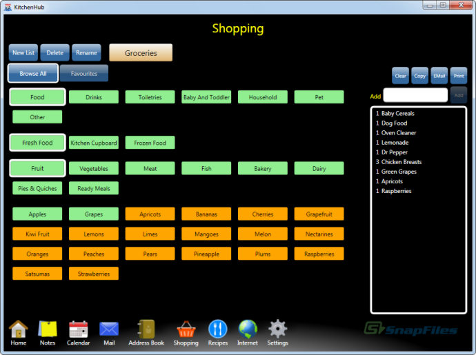 screenshot of KitchenHub Family Organizer