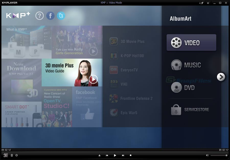 screen capture of KMPlayer
