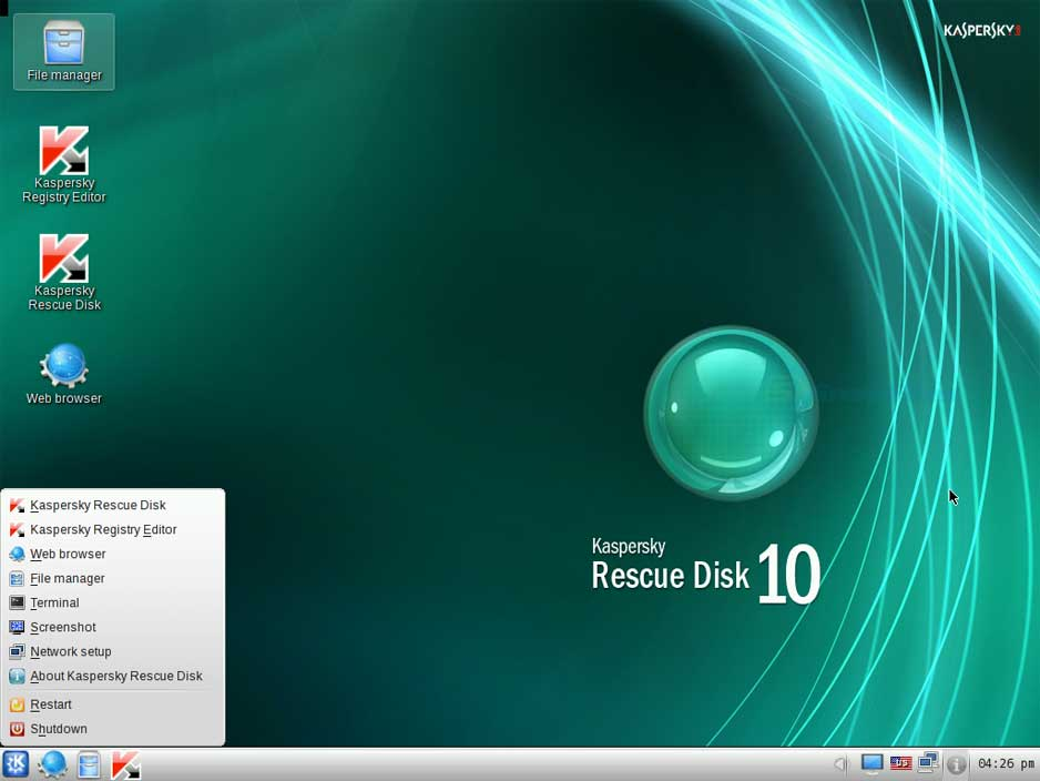 screenshot of Kaspersky Rescue Disk