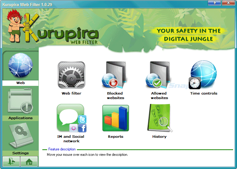 screen capture of Kurupira Web Filter