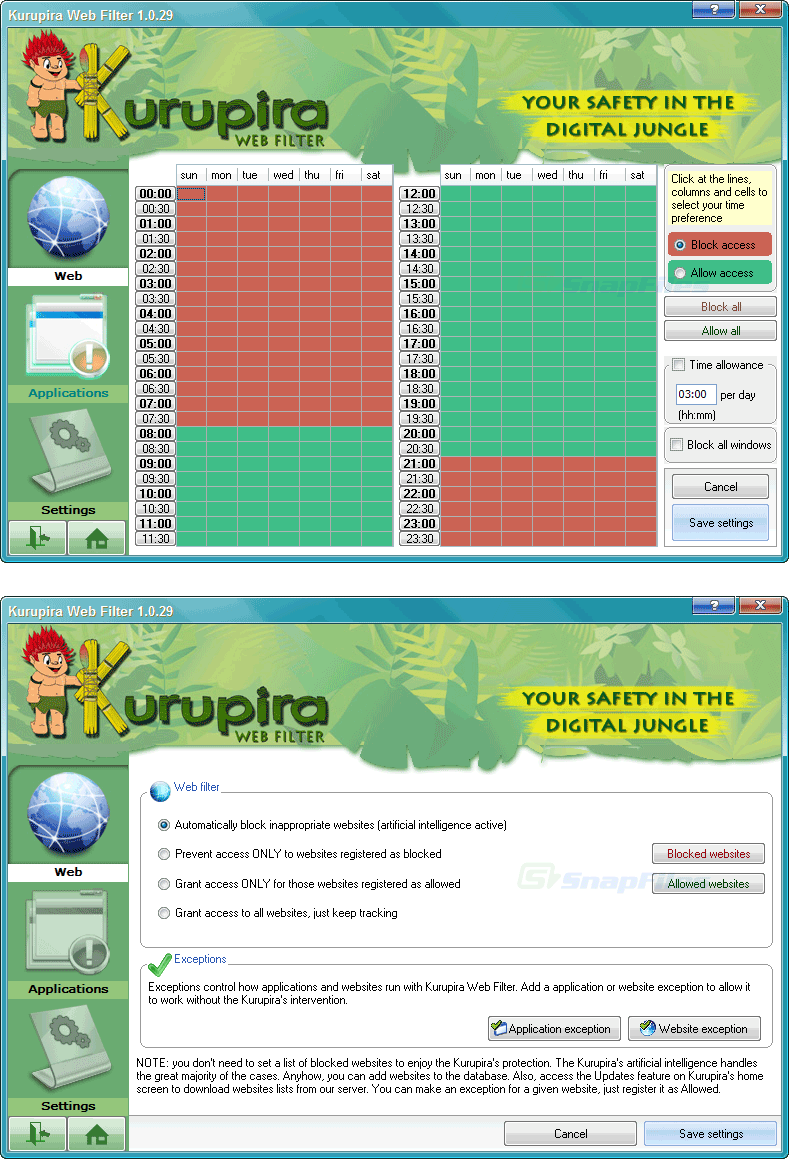 screenshot of Kurupira Web Filter