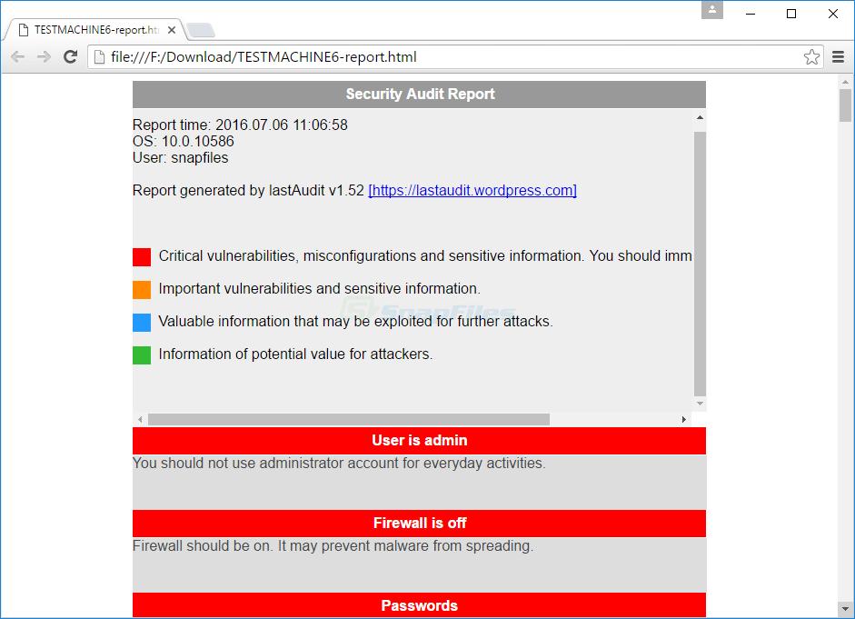 screenshot of lastAudit