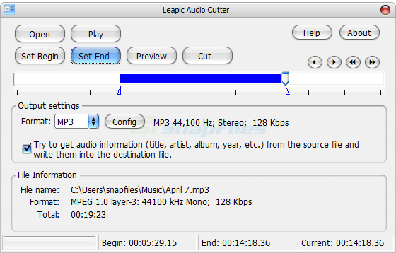 screen capture of Leapic Audio Cutter Free