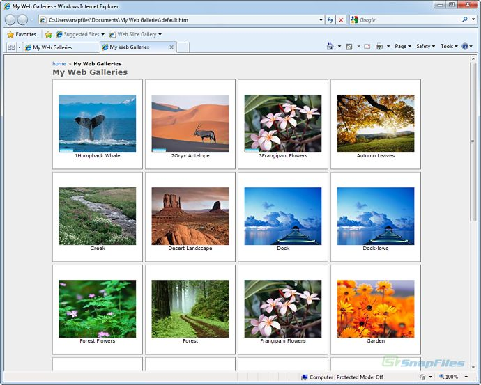 screenshot of LightBox Video Web Gallery Creator