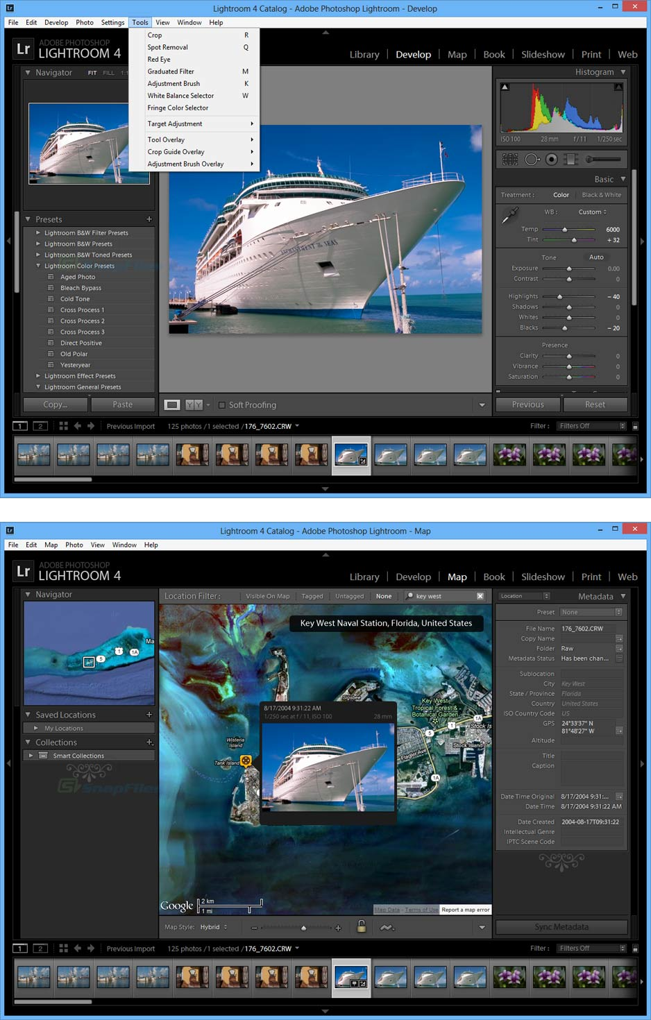 screenshot of Adobe Lightroom