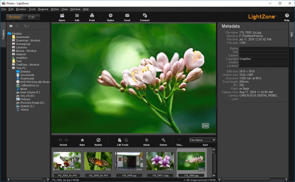 screenshot of LightZone