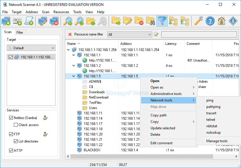screen capture of Lizard Systems Network Scanner