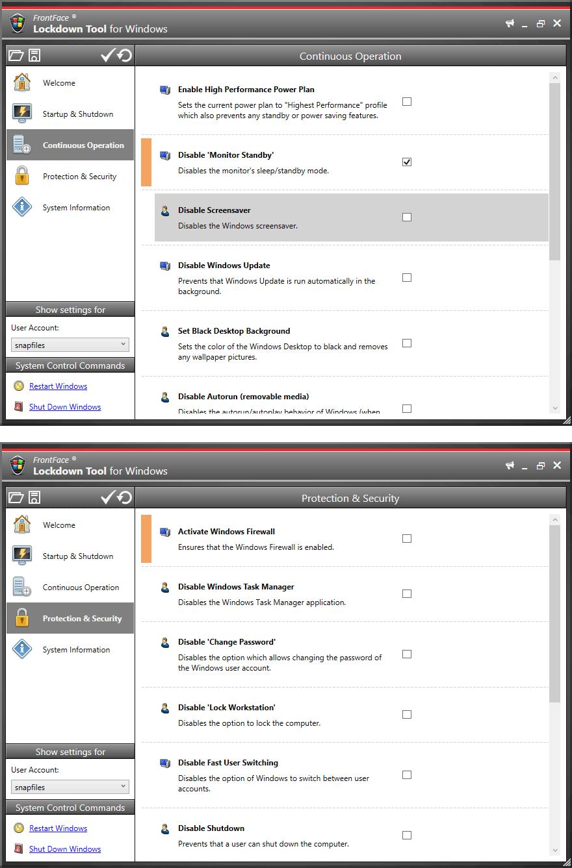 FrontFace Lockdown Tool screenshot and download at SnapFiles com