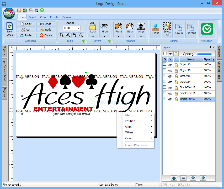 screen capture of Logo Design Studio