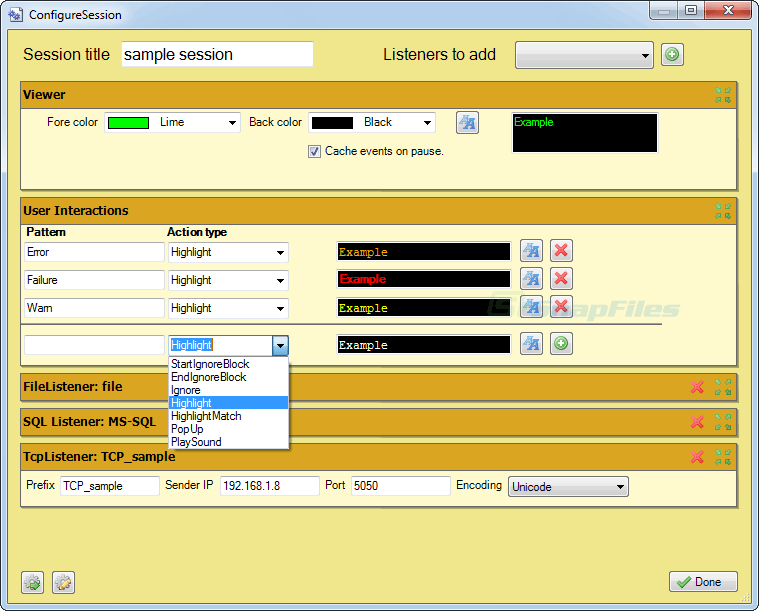 screen capture of logview4net