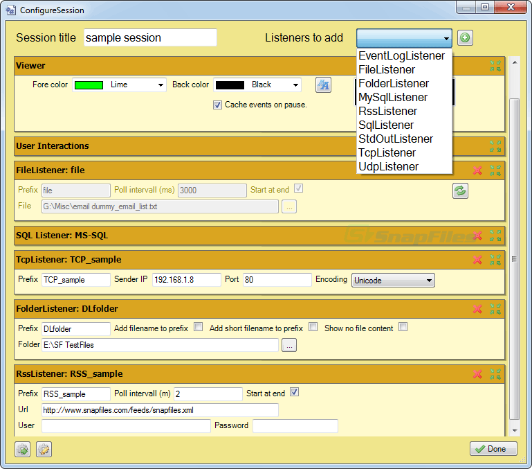 screenshot of logview4net