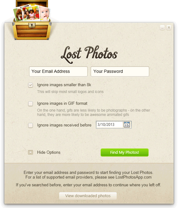 screen capture of Lost Photos