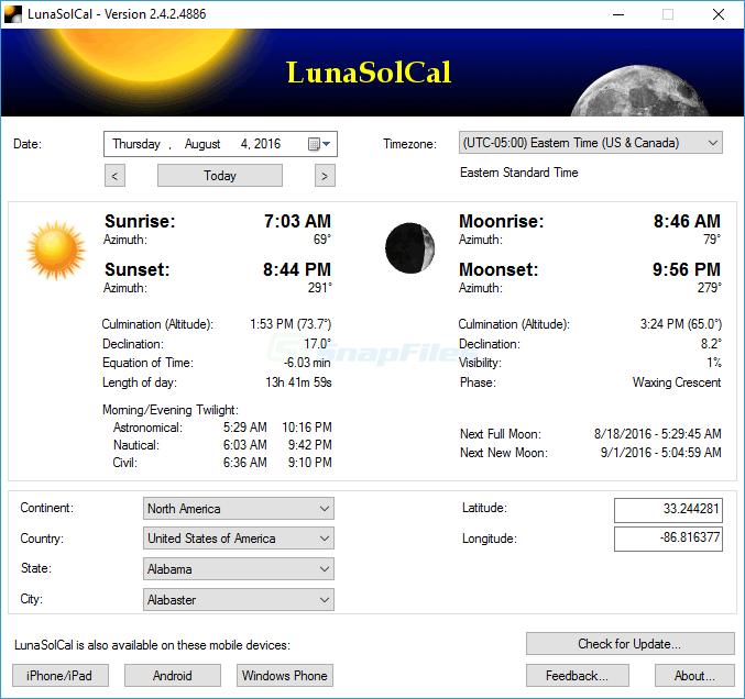 screen capture of LunaSolCal