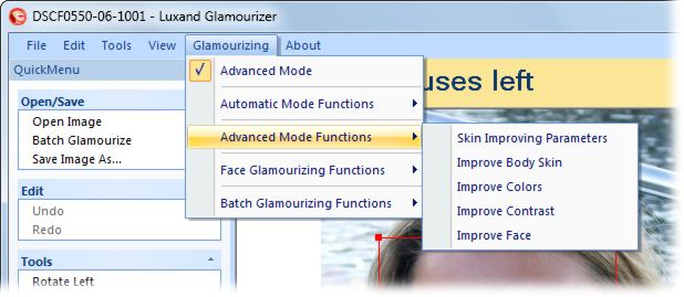 screenshot of Luxand Glamourizer