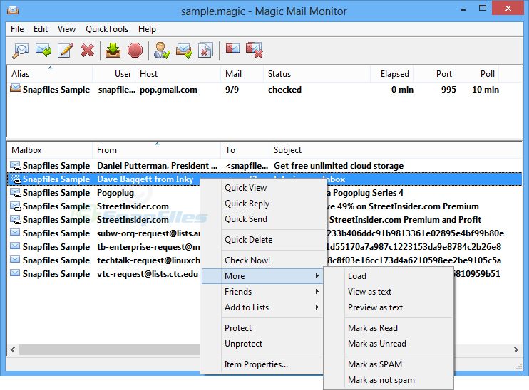 screen capture of Magic Mail Monitor