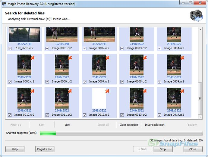 screen capture of Magic Photo Recovery