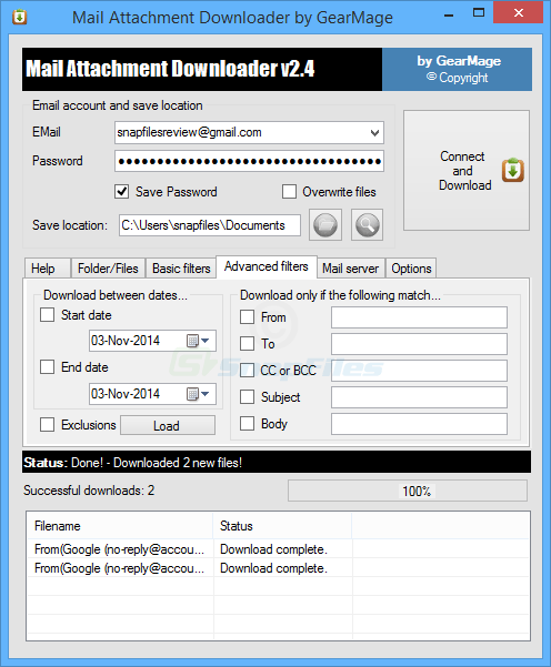 screenshot of Mail Attachment Downloader