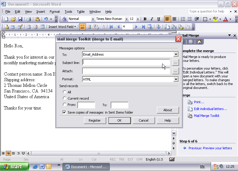 screen capture of Mail Merge Toolkit