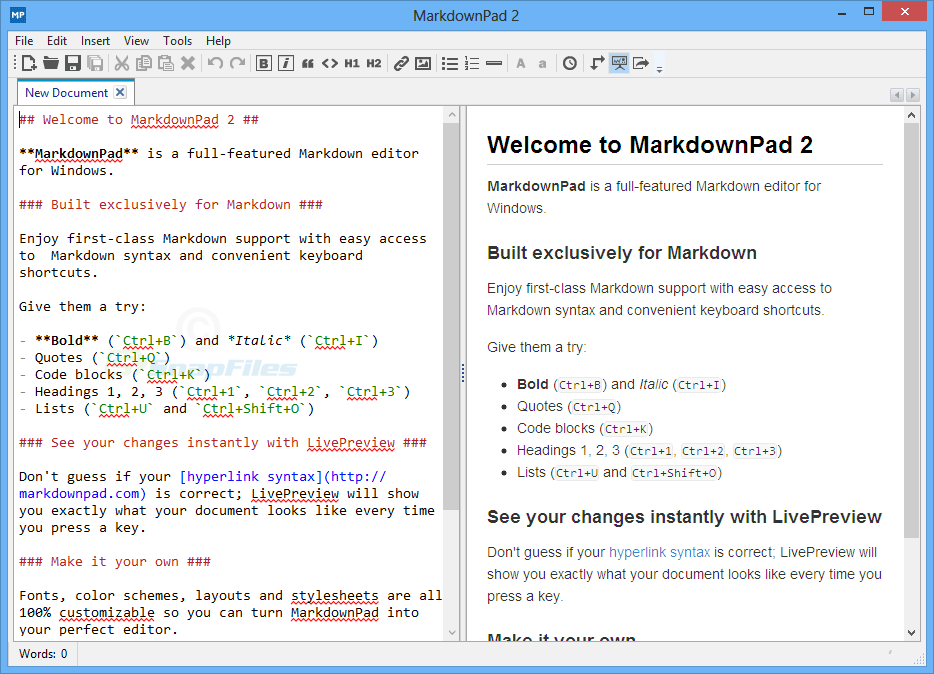 screen capture of MarkdownPad