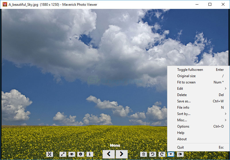 screen capture of Maverick Photo Viewer