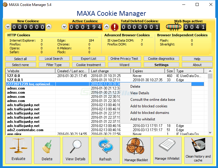 screen capture of MAXA Cookie Manager