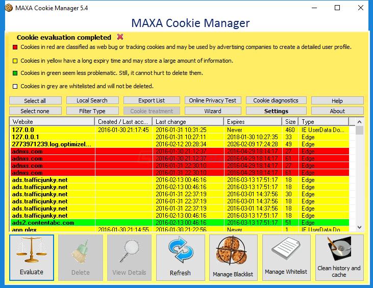 screenshot of MAXA Cookie Manager
