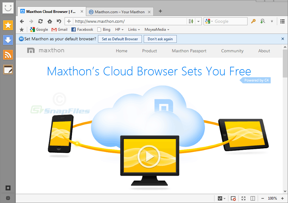 screen capture of Maxthon