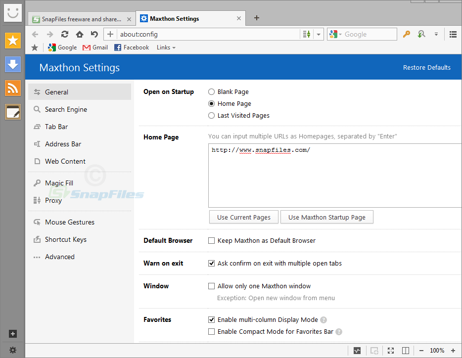 screenshot of Maxthon