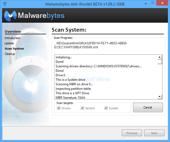 screen capture of Malwarebytes Anti-Rootkit BETA