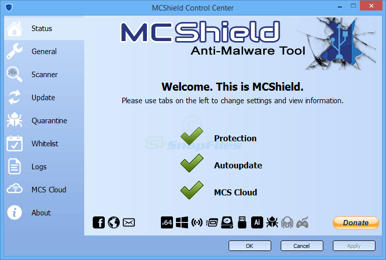 screen capture of MCShield