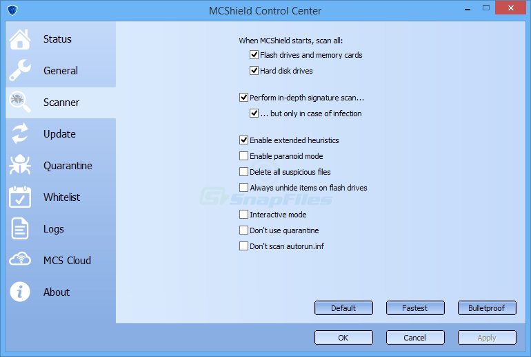 screenshot of MCShield