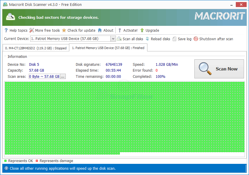 screen capture of Macrorit Disk Scanner Free