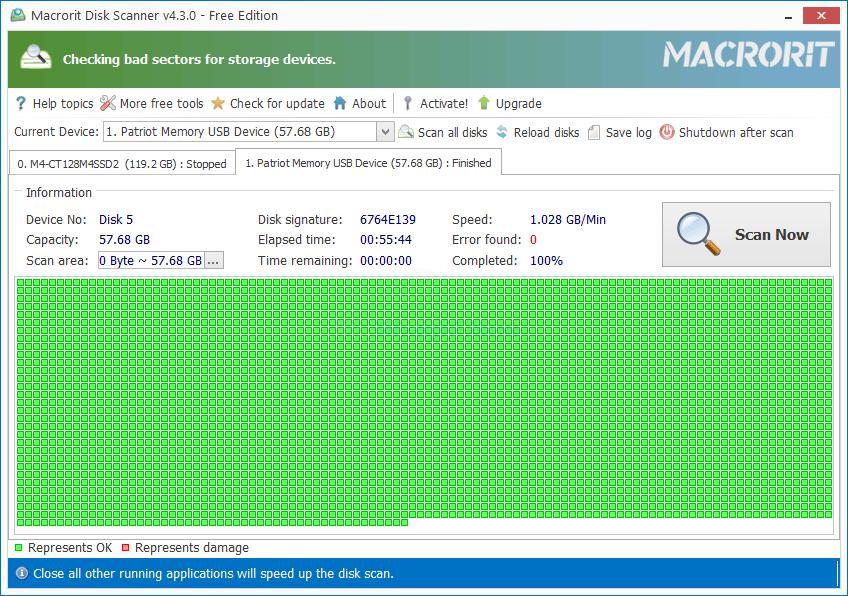 screen capture of Macrorit Disk Scanner Free