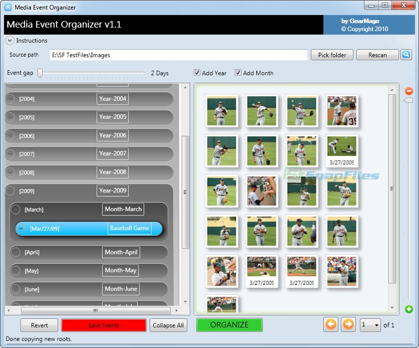 screen capture of GearMage Photo Organizer