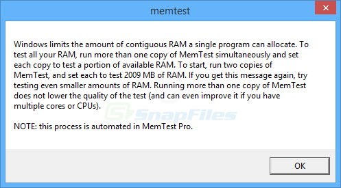 screenshot of MemTest