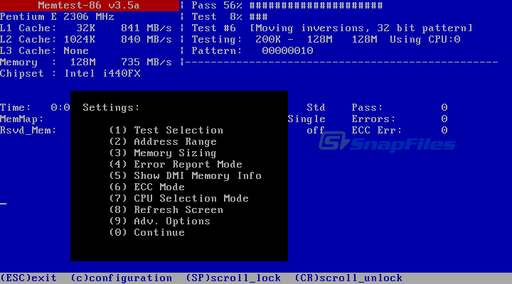 screen capture of Memtest86