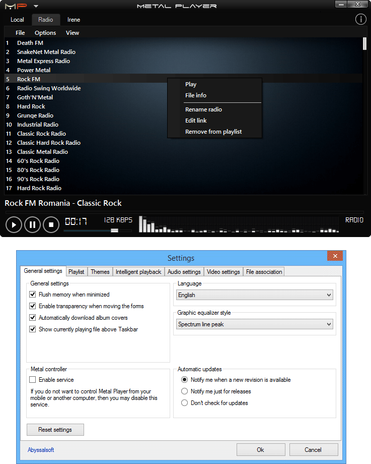 screenshot of Metal Player